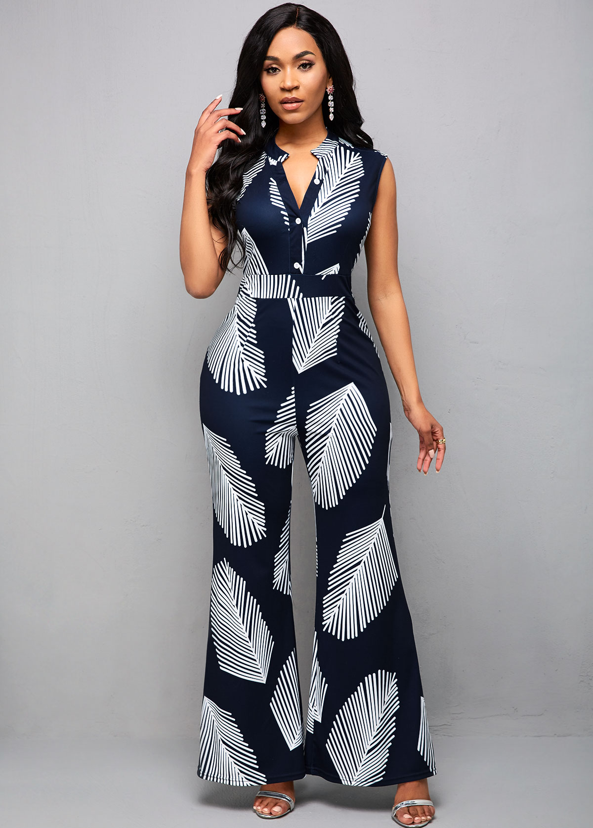 ROTITA Split Neck Plant Print Sleeveless Jumpsuit