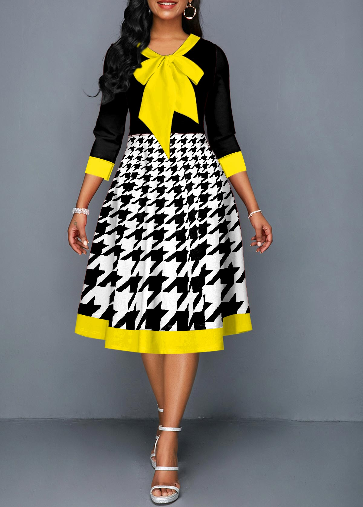 ROTITA Houndstooth Print Bow Collar Contrast Piping Dress