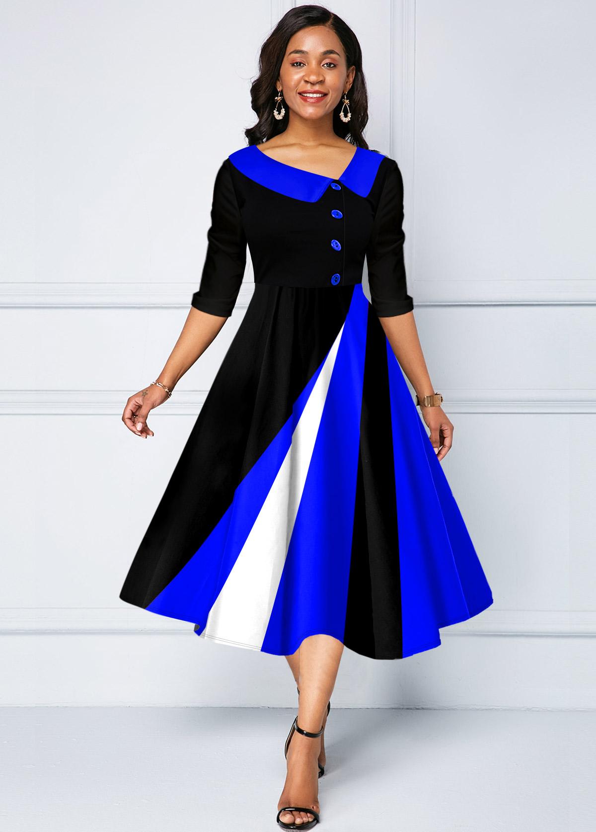 ROTITA Geometric Print Decorative Button Contrast Dress