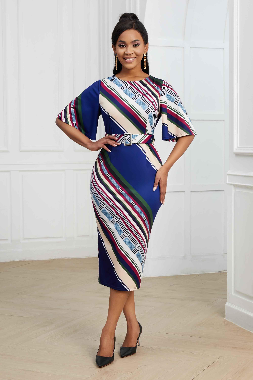 ROTITA Striped Round Neck Half Sleeve Belted Dress