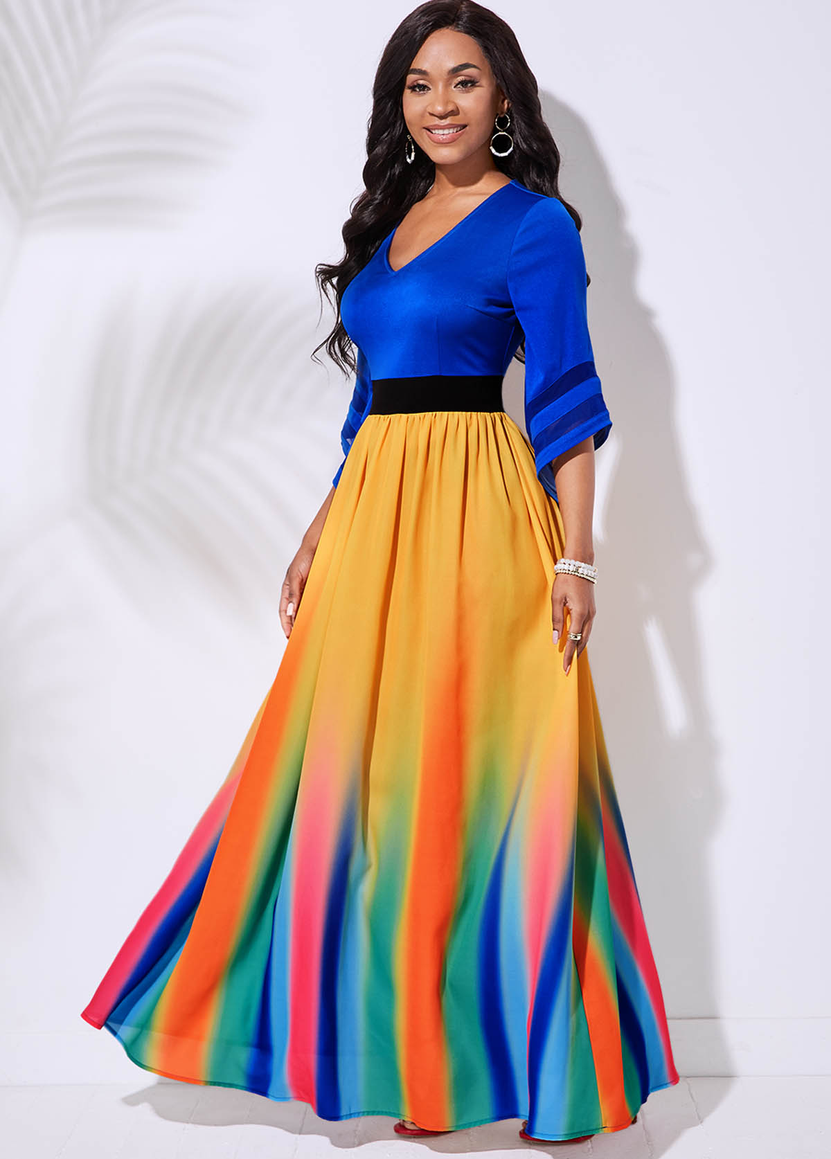 ROTITA V Neck 3/4 Sleeve Rainbow Stripe Dress