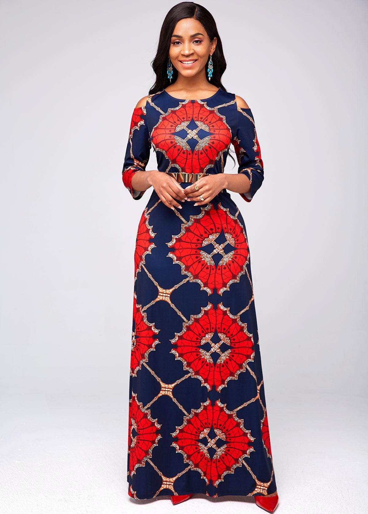 ROTITA Round Neck Cold Shoulder Tribal Print Dress
