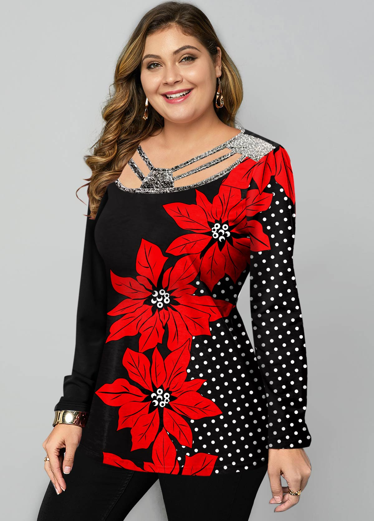 ROTITA Plus Size Polka Dot and Floral Print T Shirt