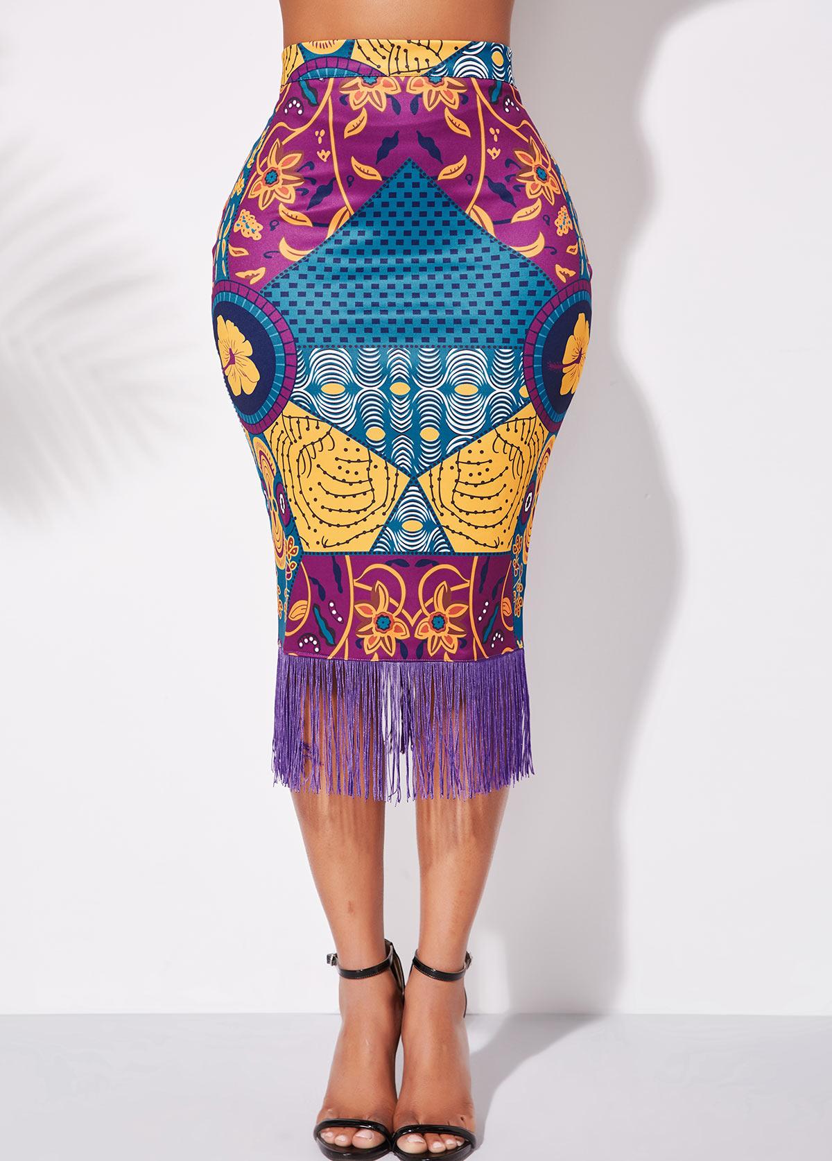 ROTITA Tassel Hem High Waist Tribal Print Skirt