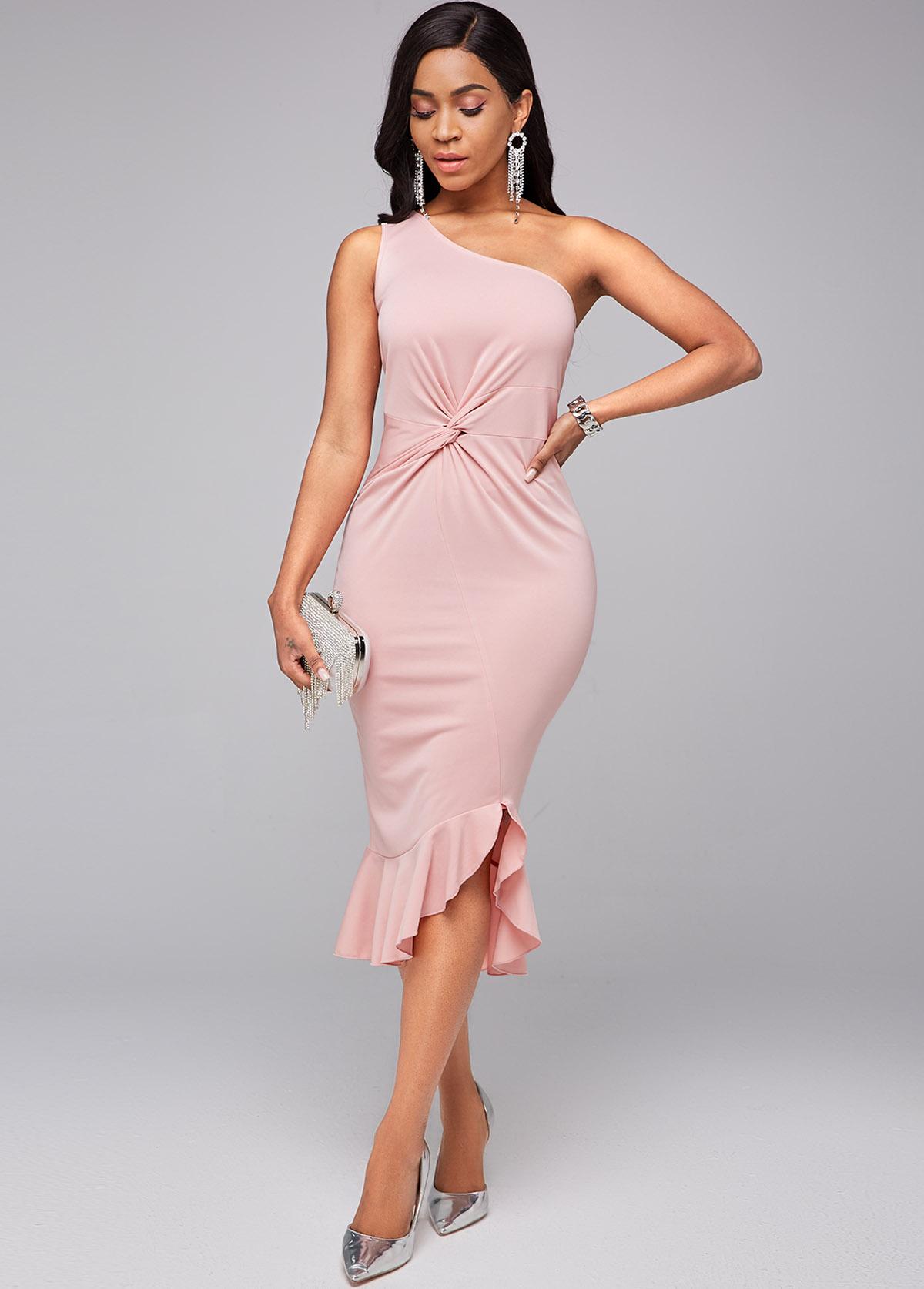 ROTITA Skew Neck Ruffle Hem Twist Front Dress