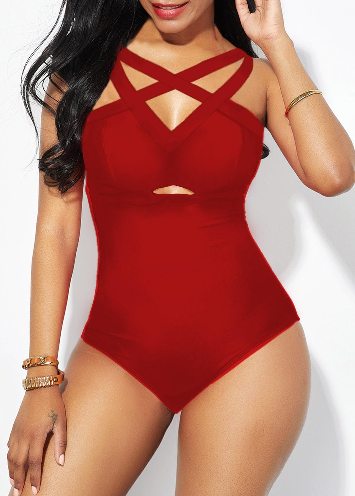 ROTITA Strappy Back Lattice Front Red One Piece Swimwear