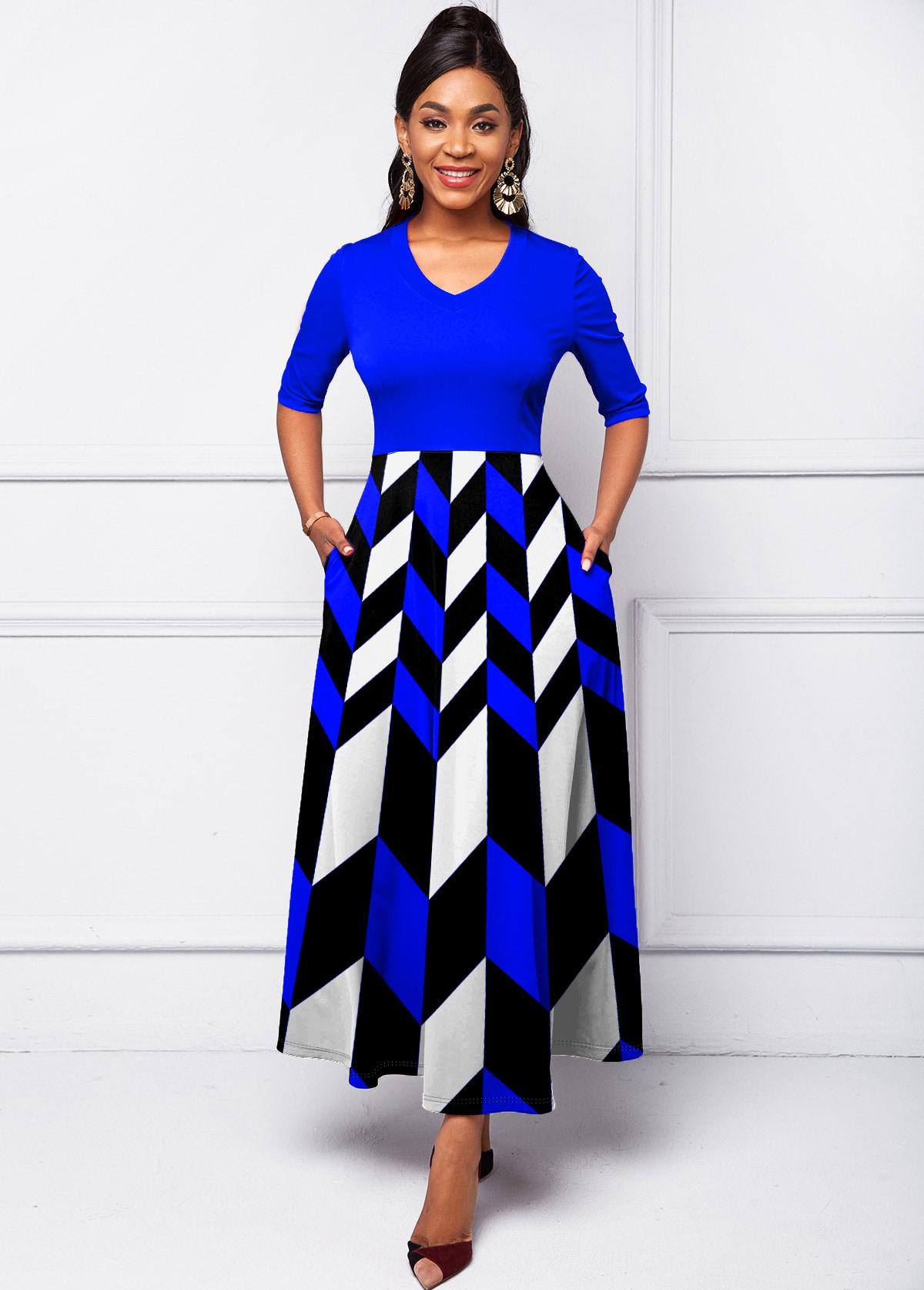 ROTITA Geometric Print Side Pocket Maxi Dress
