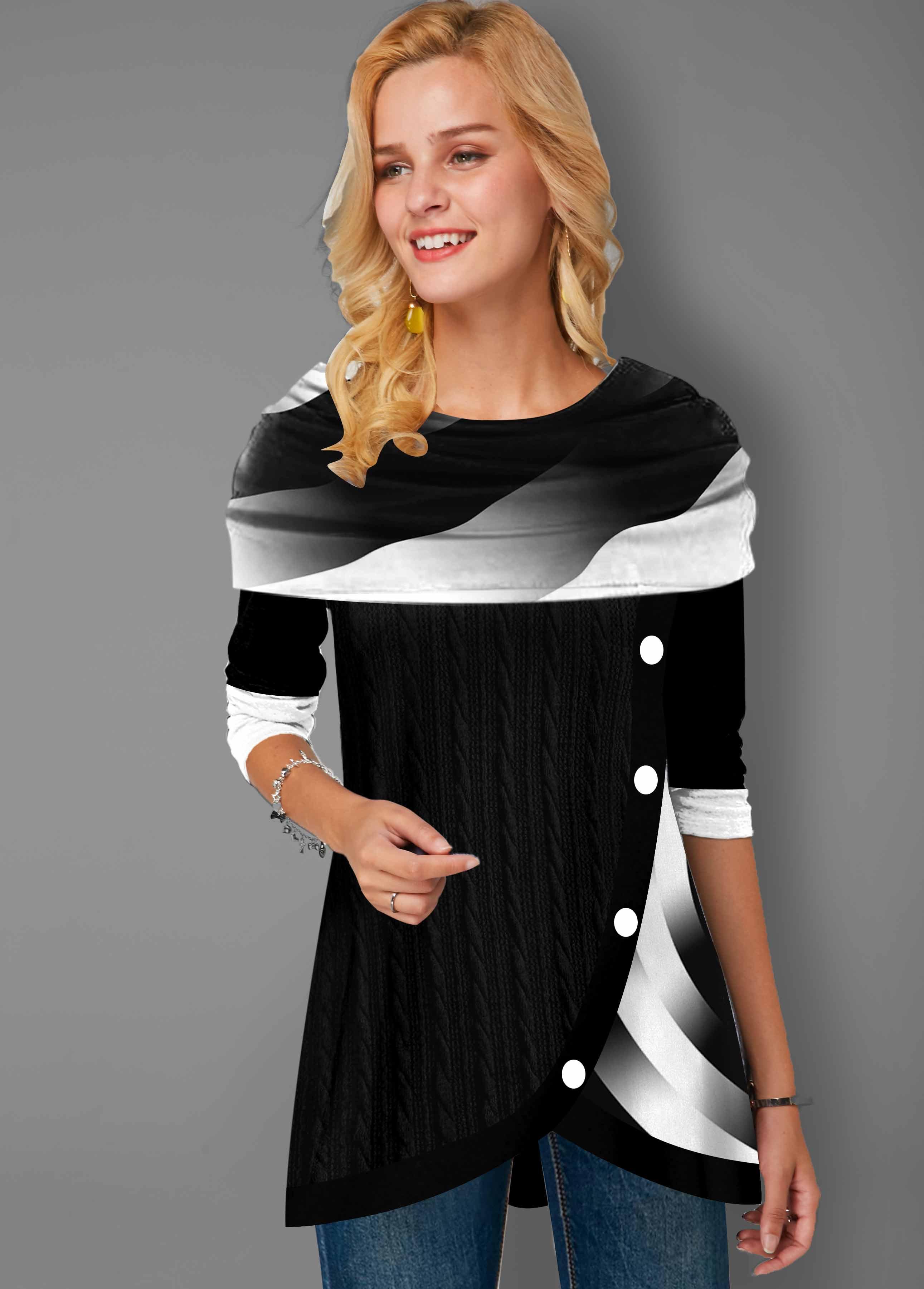 ROTITA Plus Size Printed Asymmetric Hem Tunic Top