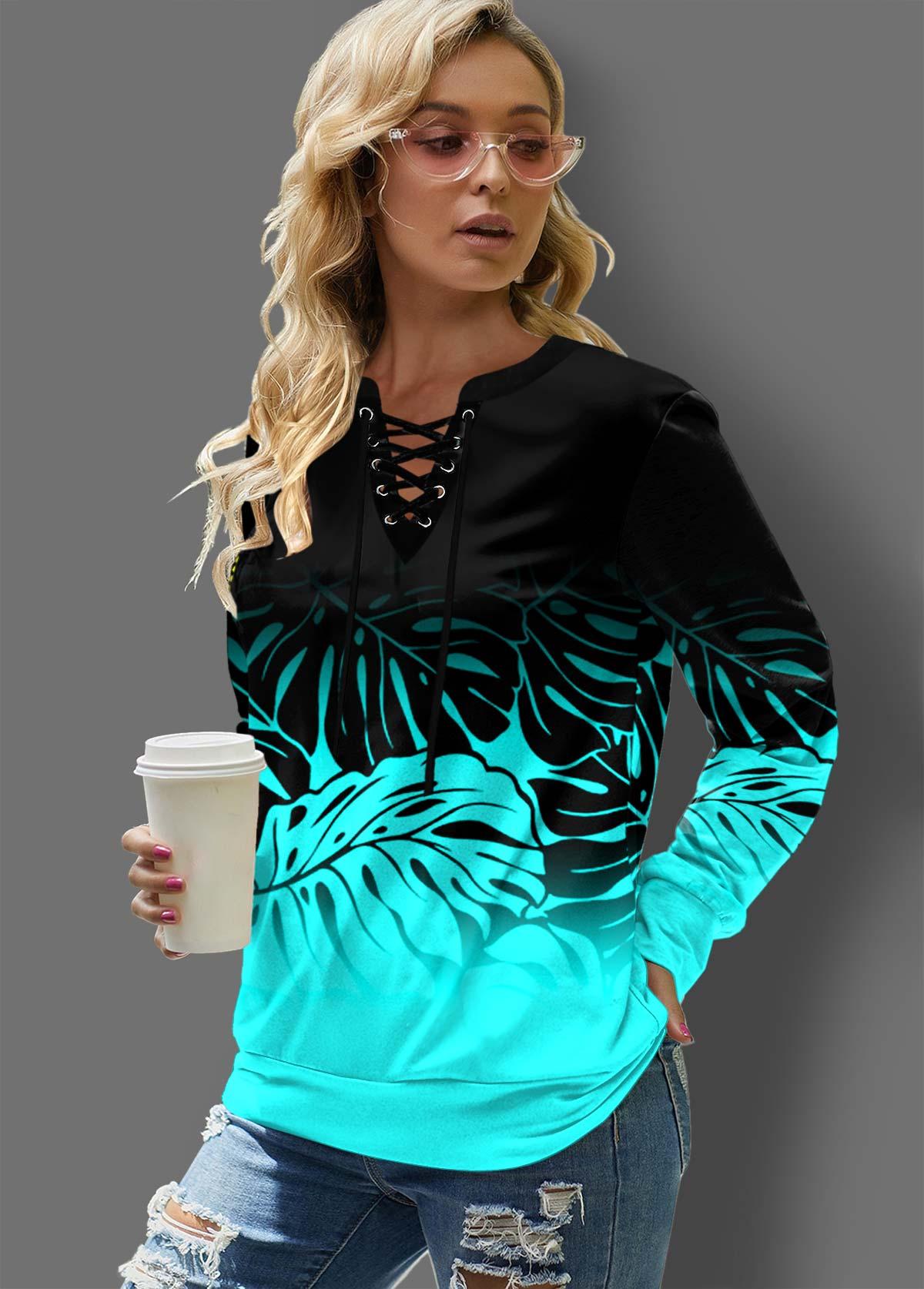 ROTITA Leaf Print Lace Up Ombre Sweatshirt