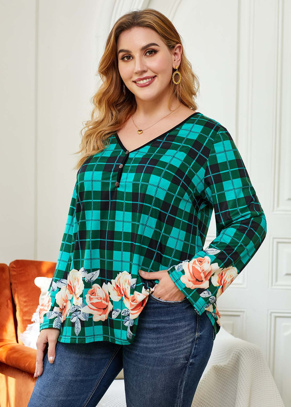 ROTITA Plus Size Floral Print Plaid Blouse