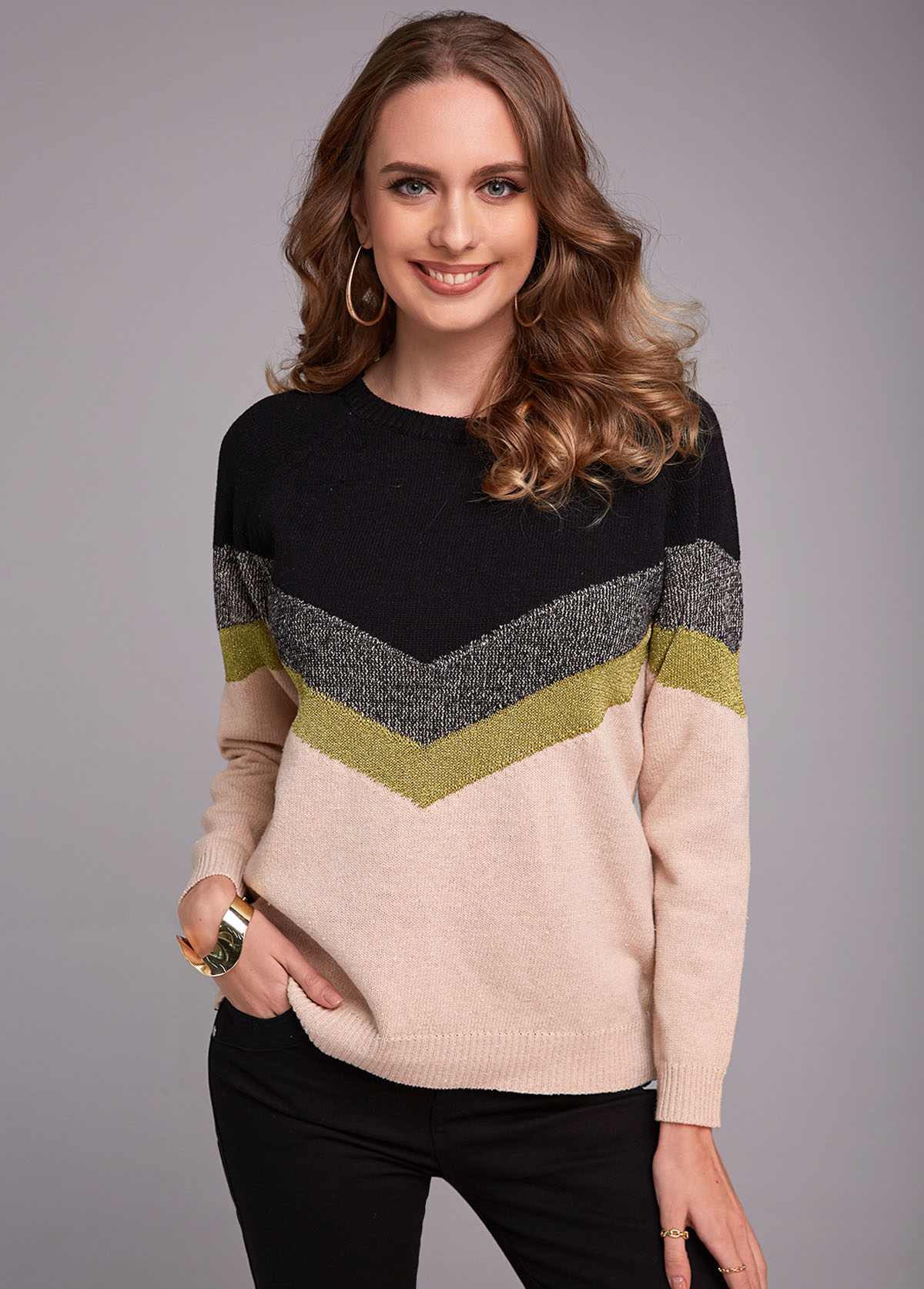 Round Neck Long Sleeve Contrast Sweater