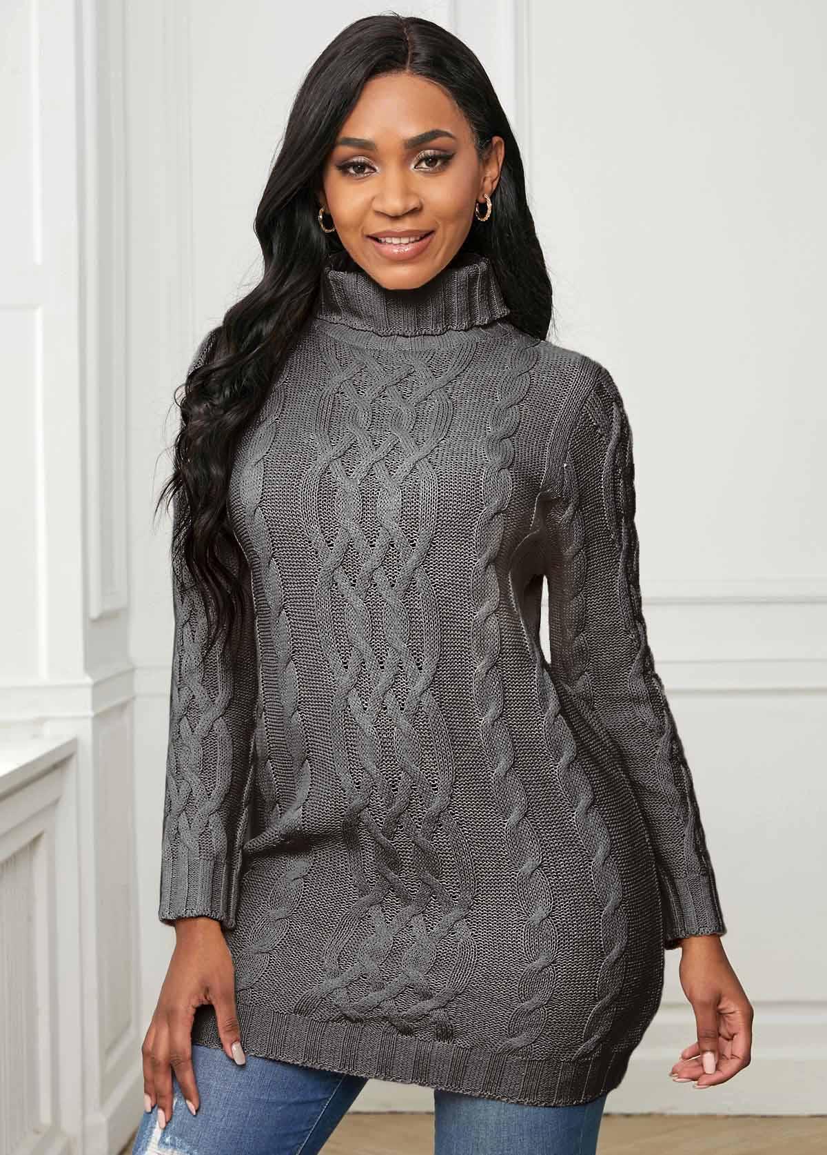 Long Sleeve Twisted Pattern Turtleneck Sweater
