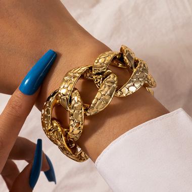 Snake Print Retro Gold Metal Bracelet