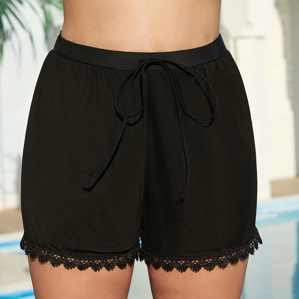 ROTITA Drawstring Waist Lace Stitching Black Swimwear Shorts