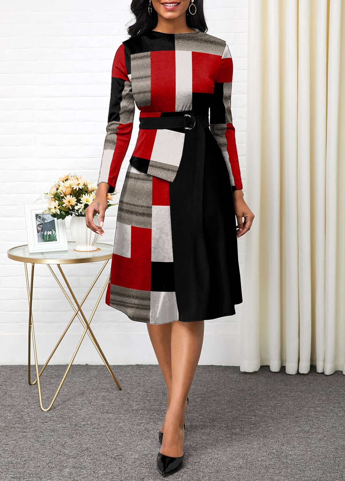 ROTITA Buckle Detail Long Sleeve Plaid Dress