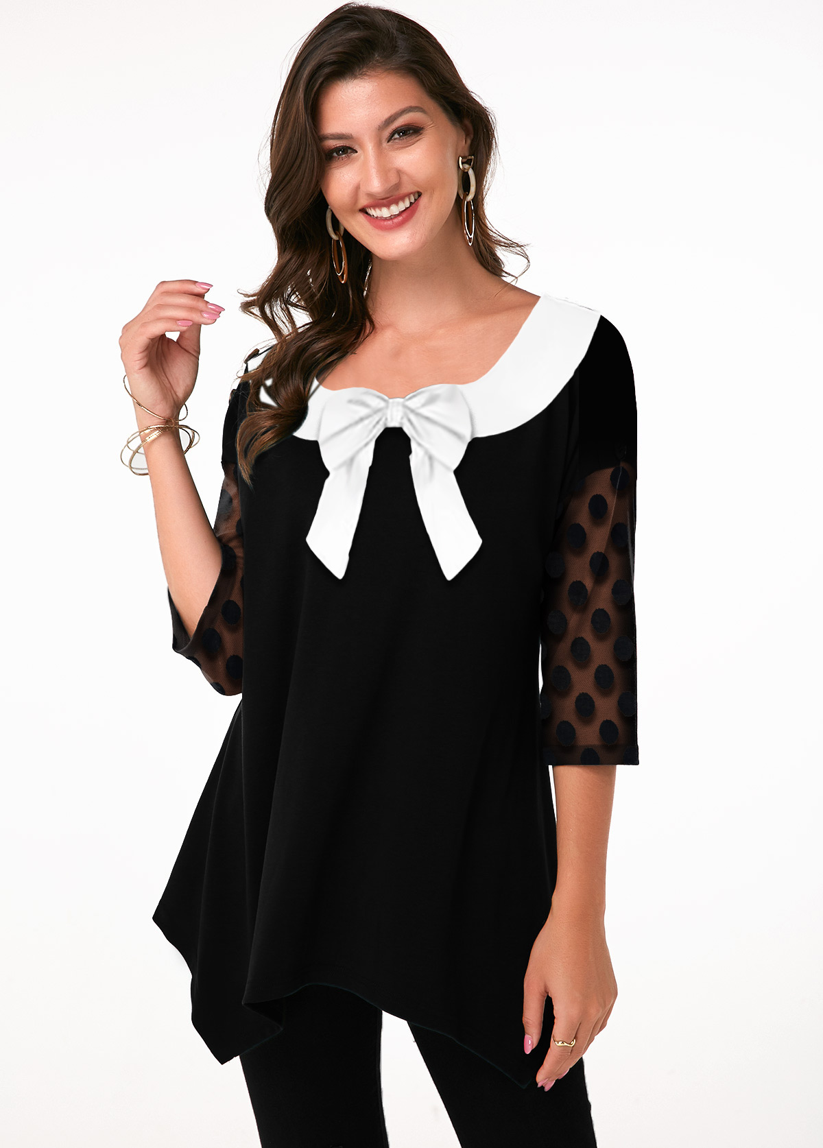 ROTITA Bowknot Dot Mesh Sleeve Tunic Top