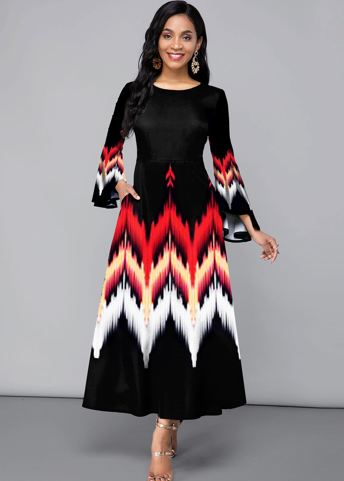 ROTITA Flare Sleeve Side Pocket Printed Maxi Dress