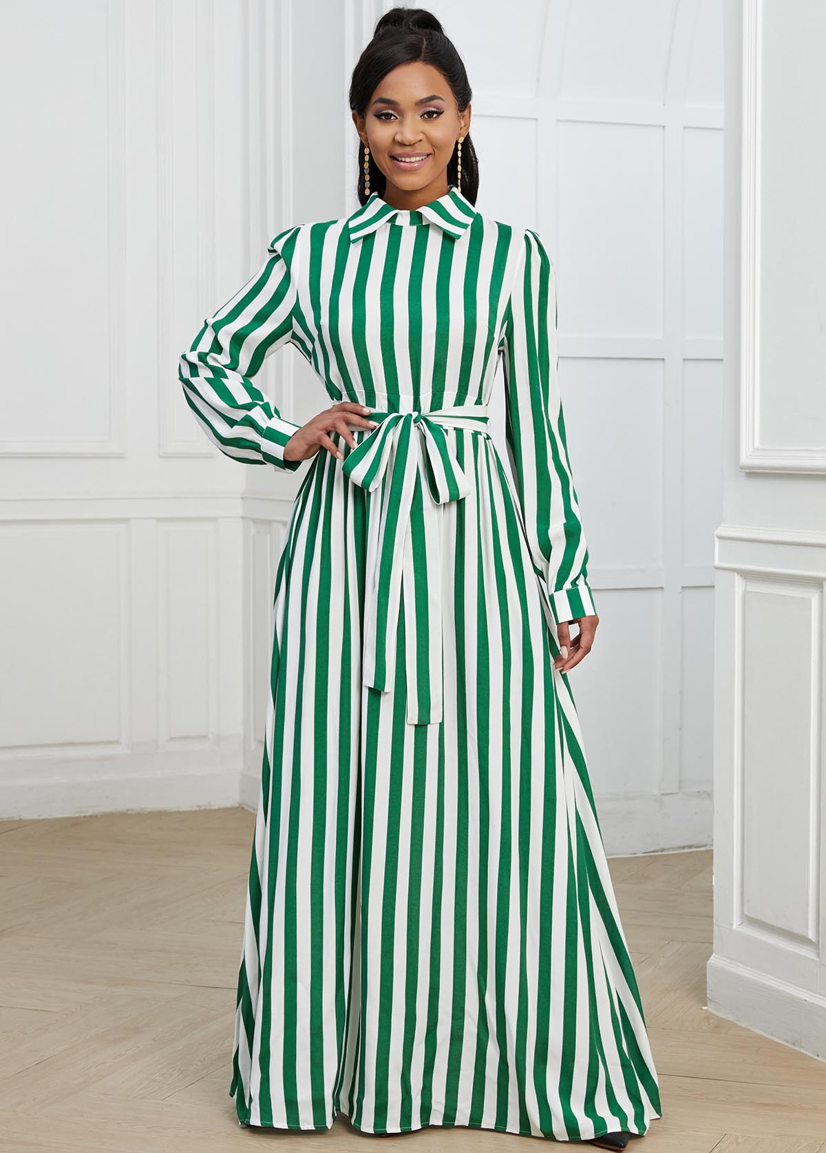 ROTITA Green Striped Turndown Collar Belted Dress