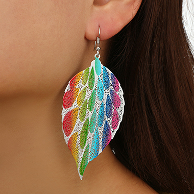 Metal Tribal Leaf Design Colorful Earring Set