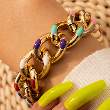 Colorful Dot Design Gold Metal Bracelet