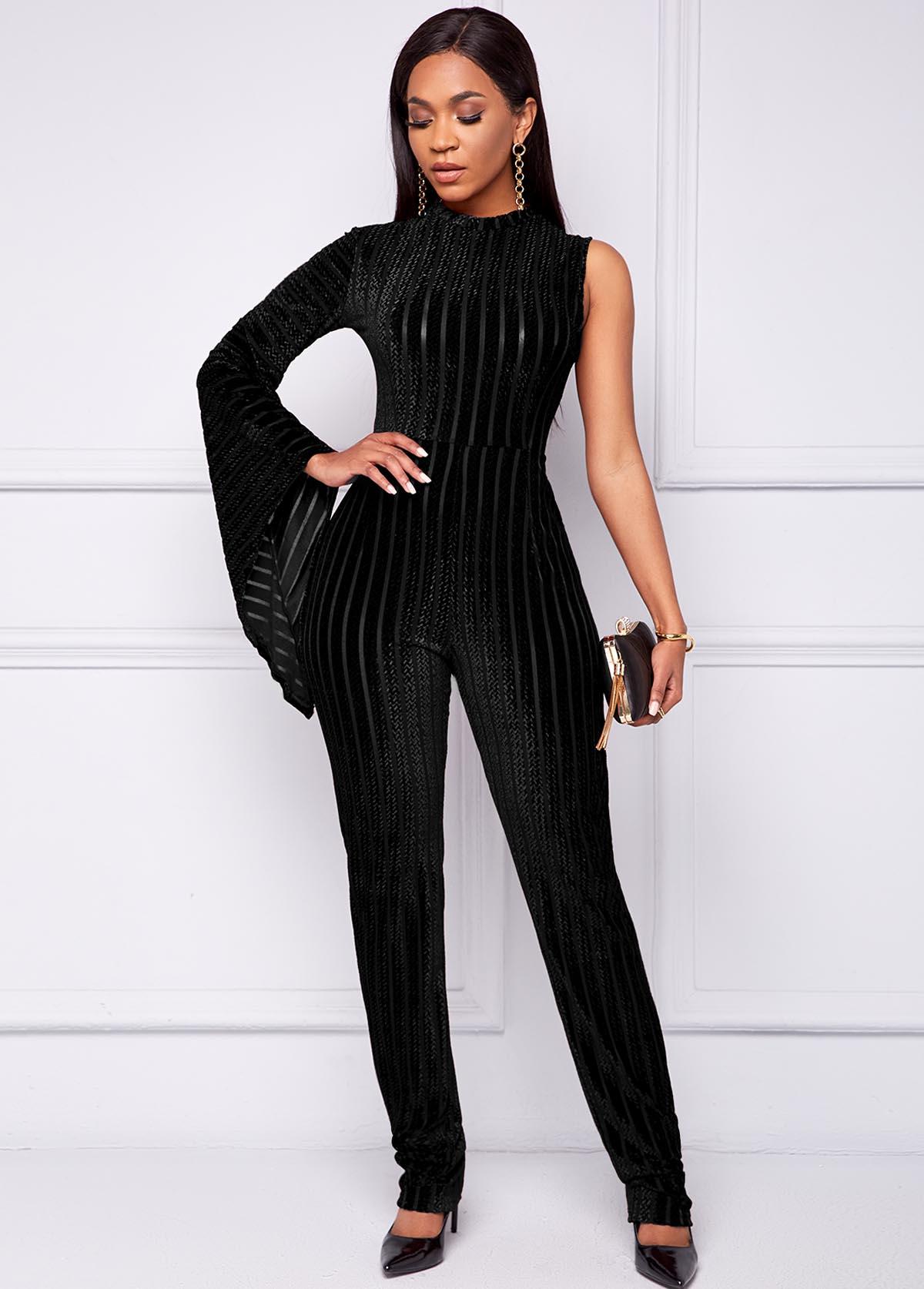 Mock Neck One Sleeve Black Jumpsuit
