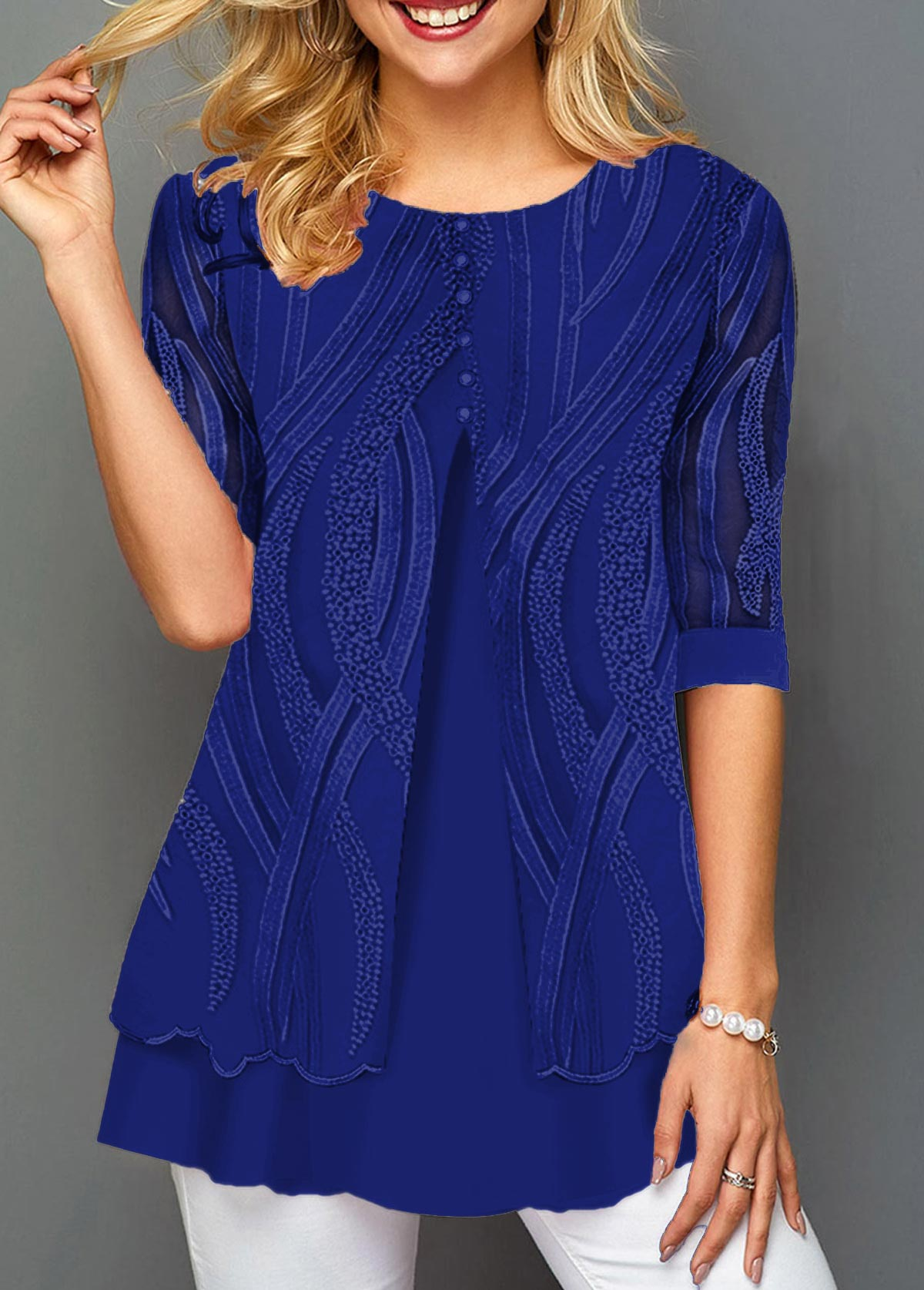 ROTITA Layered Hem Round Neck Lace Panel T Shirt