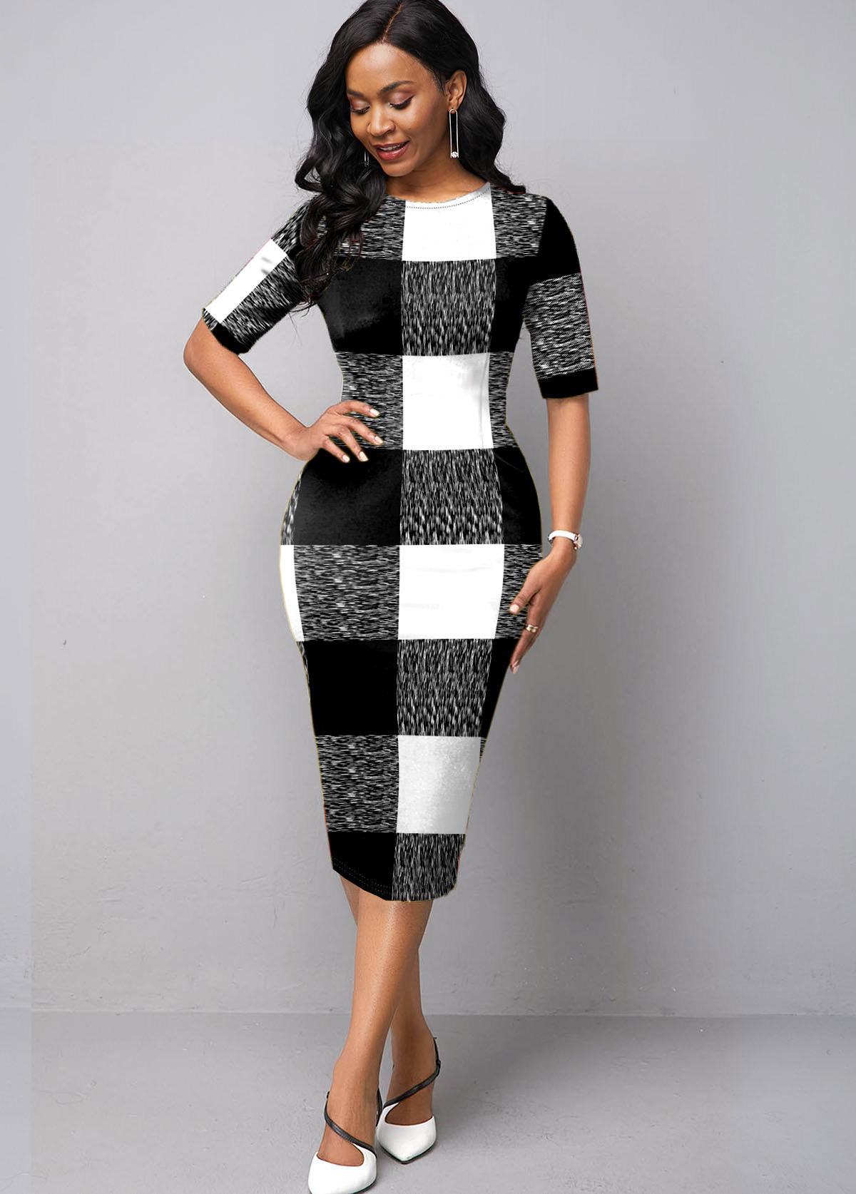 ROTITA Round Neck Half Sleeve Plaid Dress