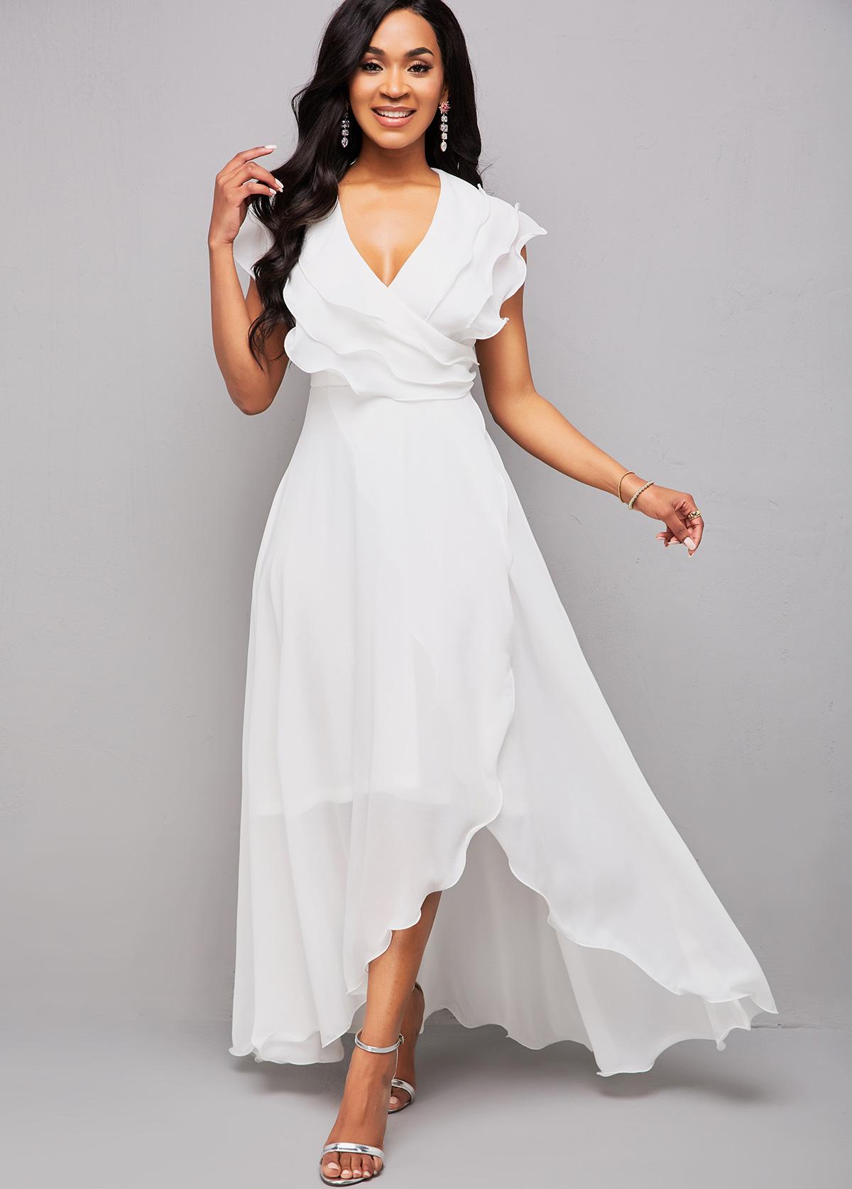ROTITA V Neck Asymmetric Hem Flounce Maxi Dress