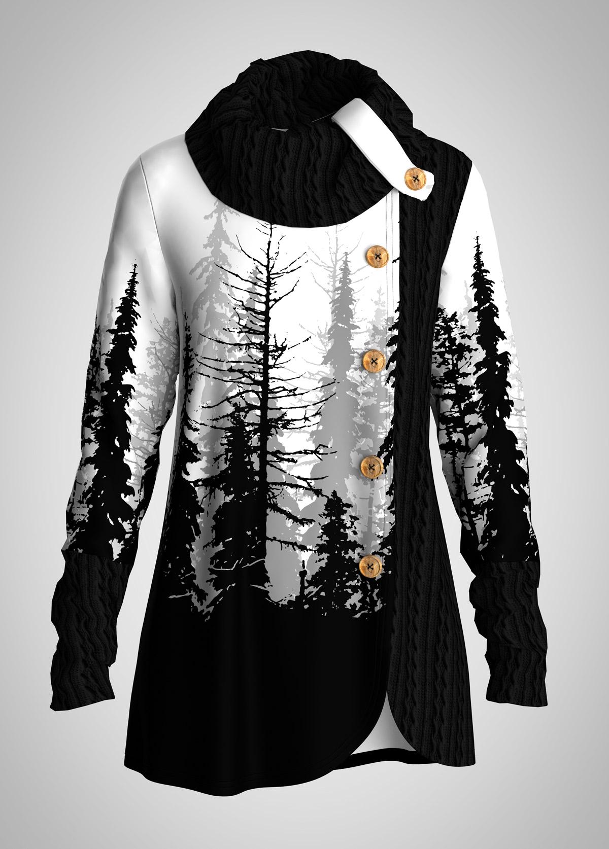 ROTITA Cowl Neck Scape Print Decorative Button Tunic Top