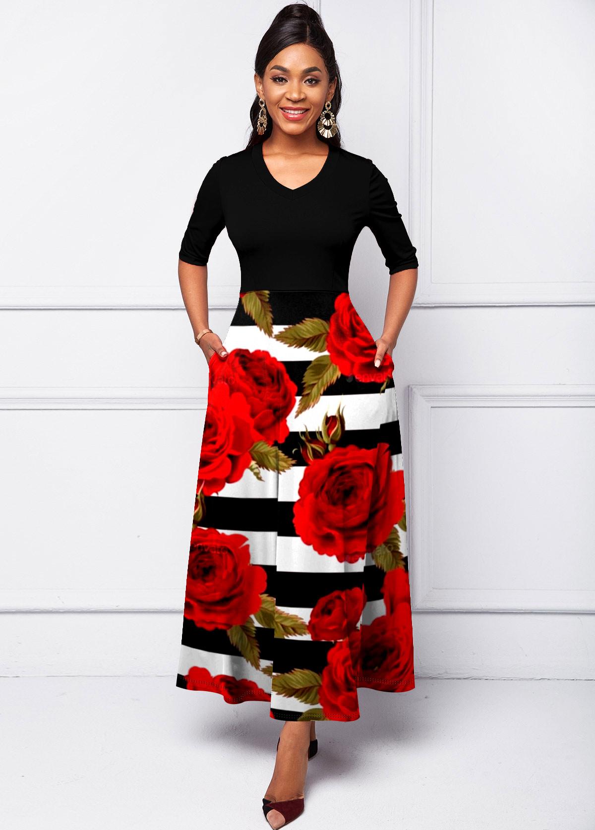 ROTITA V Neck Side Pocket Floral Print Dress