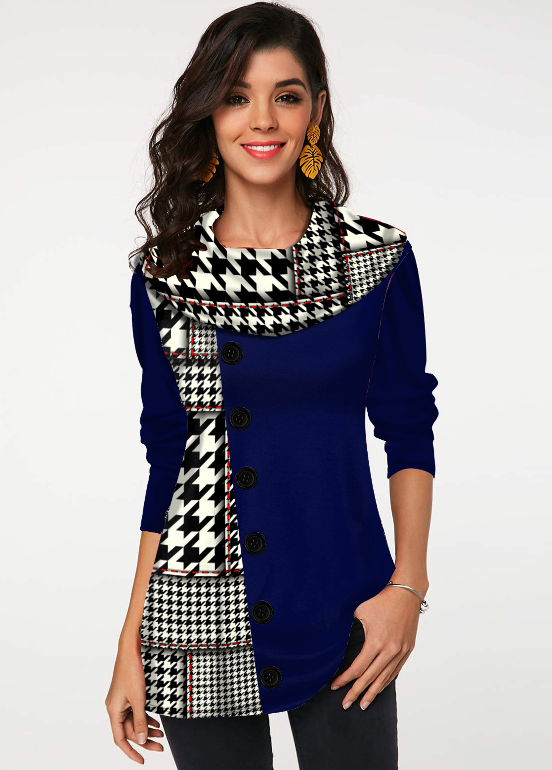 ROTITA Houndstooth Print Decorative Button Tunic Top