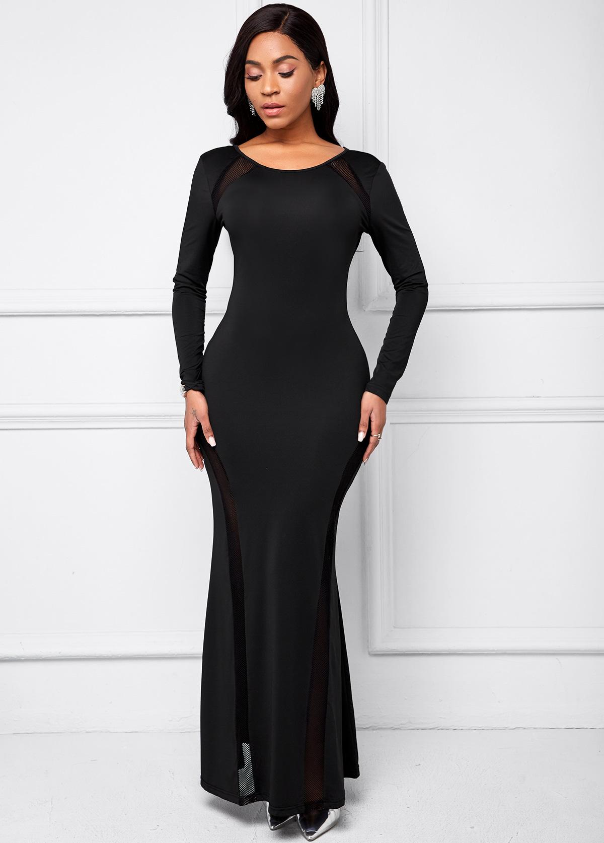 Black Long Sleeve Mesh Stitching Dress