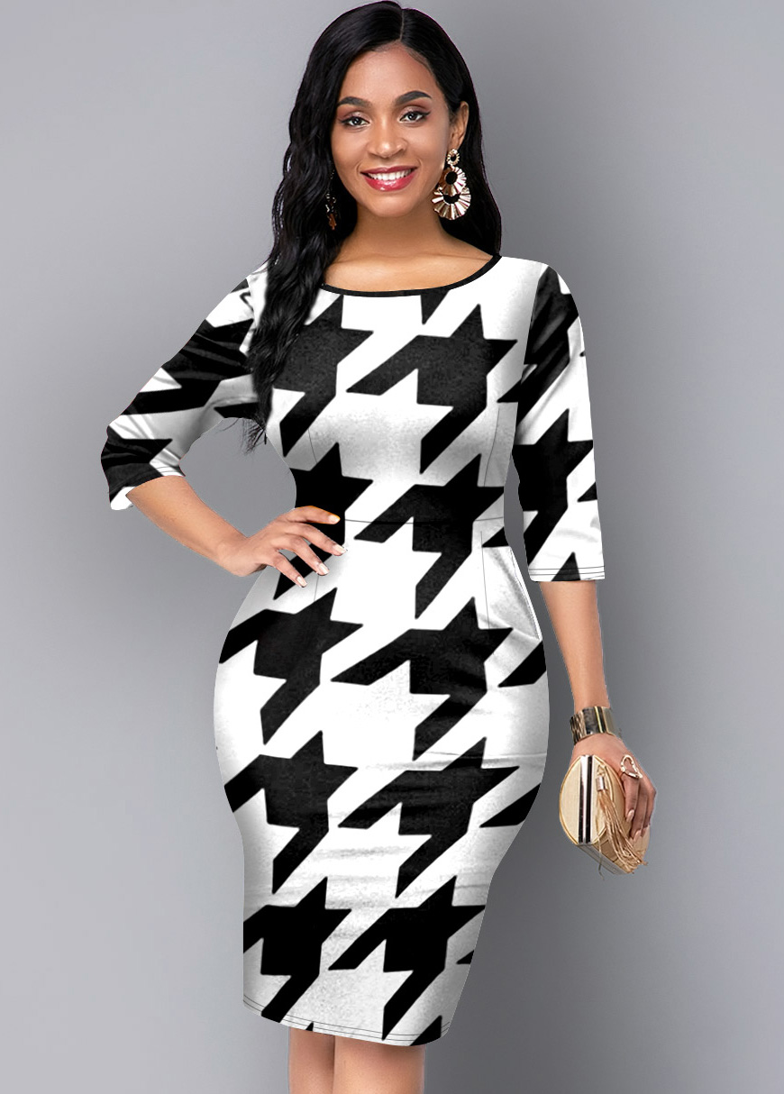 ROTITA Round Neck 3/4 Sleeve Houndstooth Print Dress