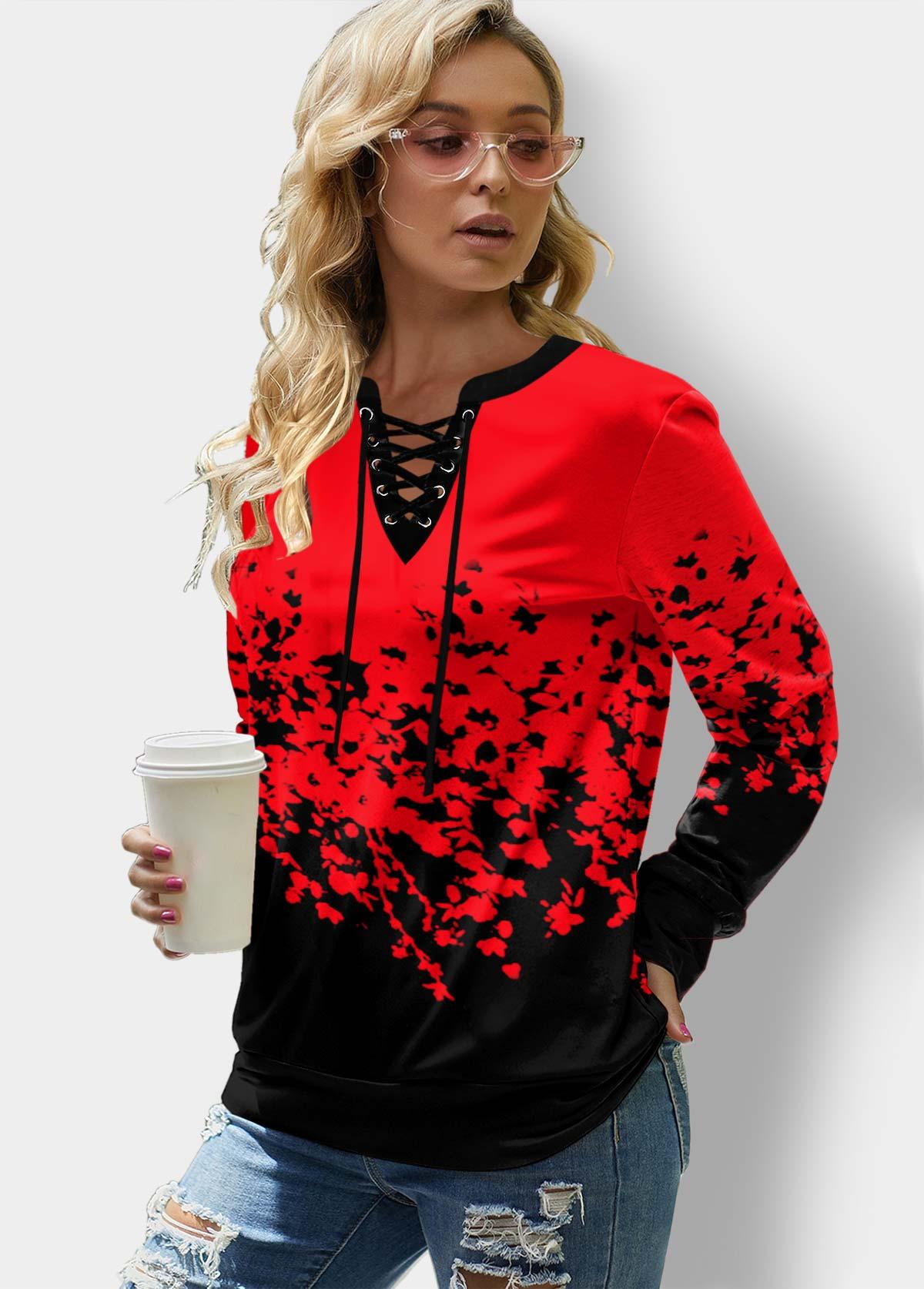 ROTITA Lace Up Long Sleeve Floral Print Sweatshirt