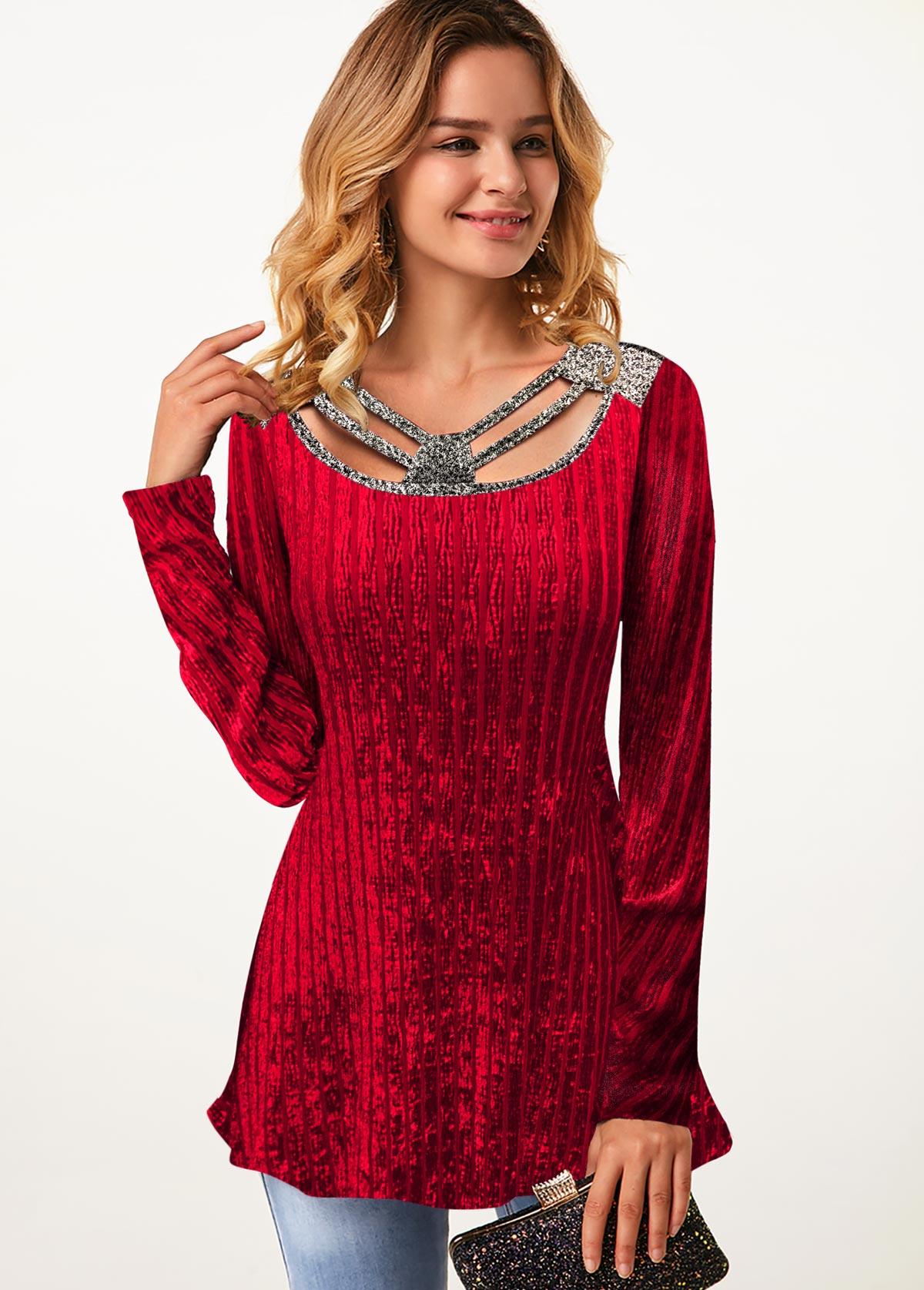 ROTITA Cutout Neck Long Sleeve Velvet T Shirt