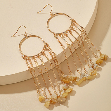 Gold Metal Tassel Design Earring Set