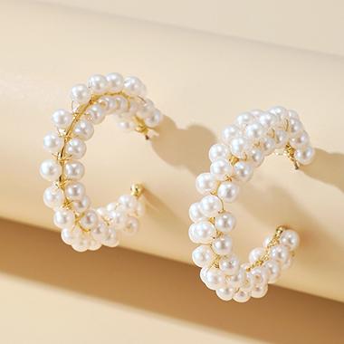 5cm Pearl Design Circular Earring Set