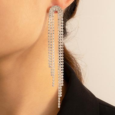 Rhinestone Detail Metal Silver Earring Set