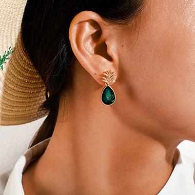 Green Pineapple Design Metal Earring Set