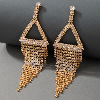 Rhinestone Detail Gold Metal Earring Set