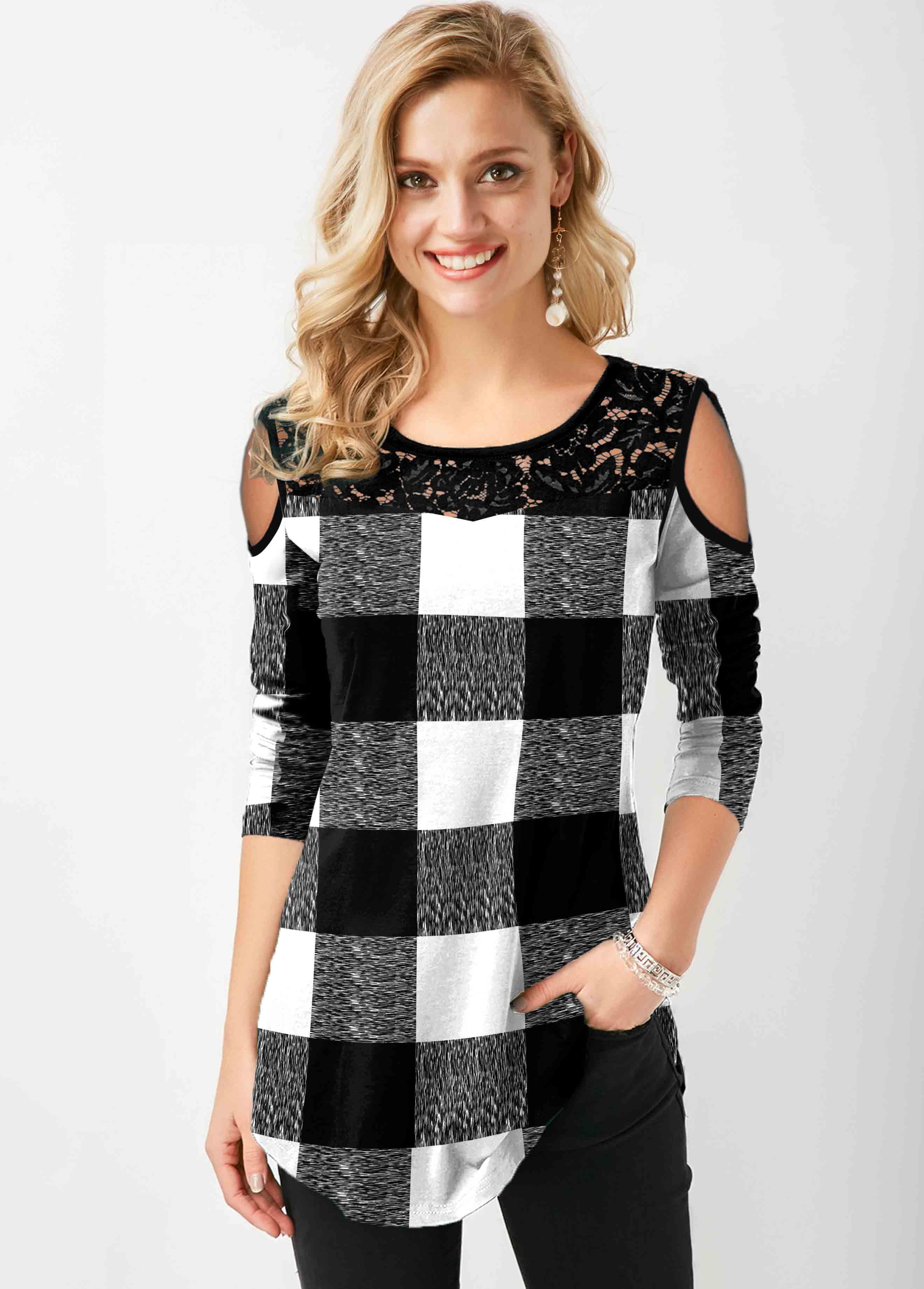 ROTITA Cold Shoulder Lace Stitching Plaid T Shirt