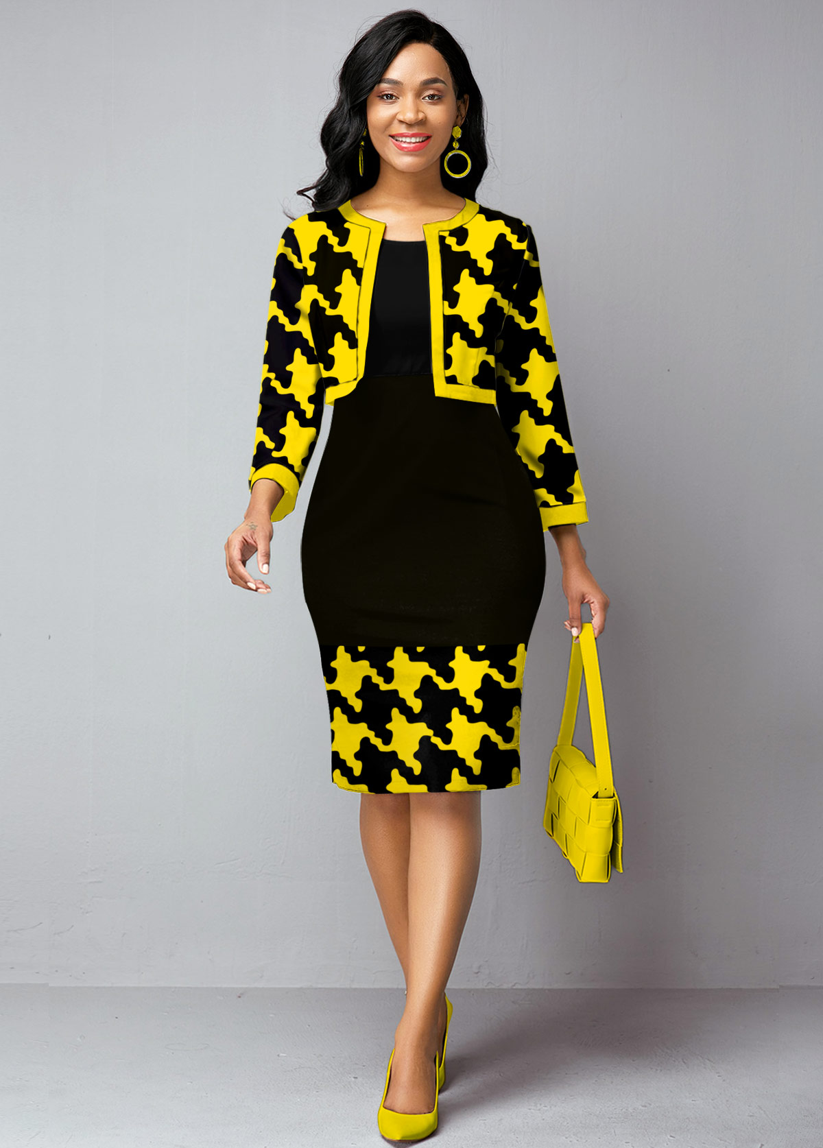 ROTITA Open Front Cardigan and Houndstooth Print Dress