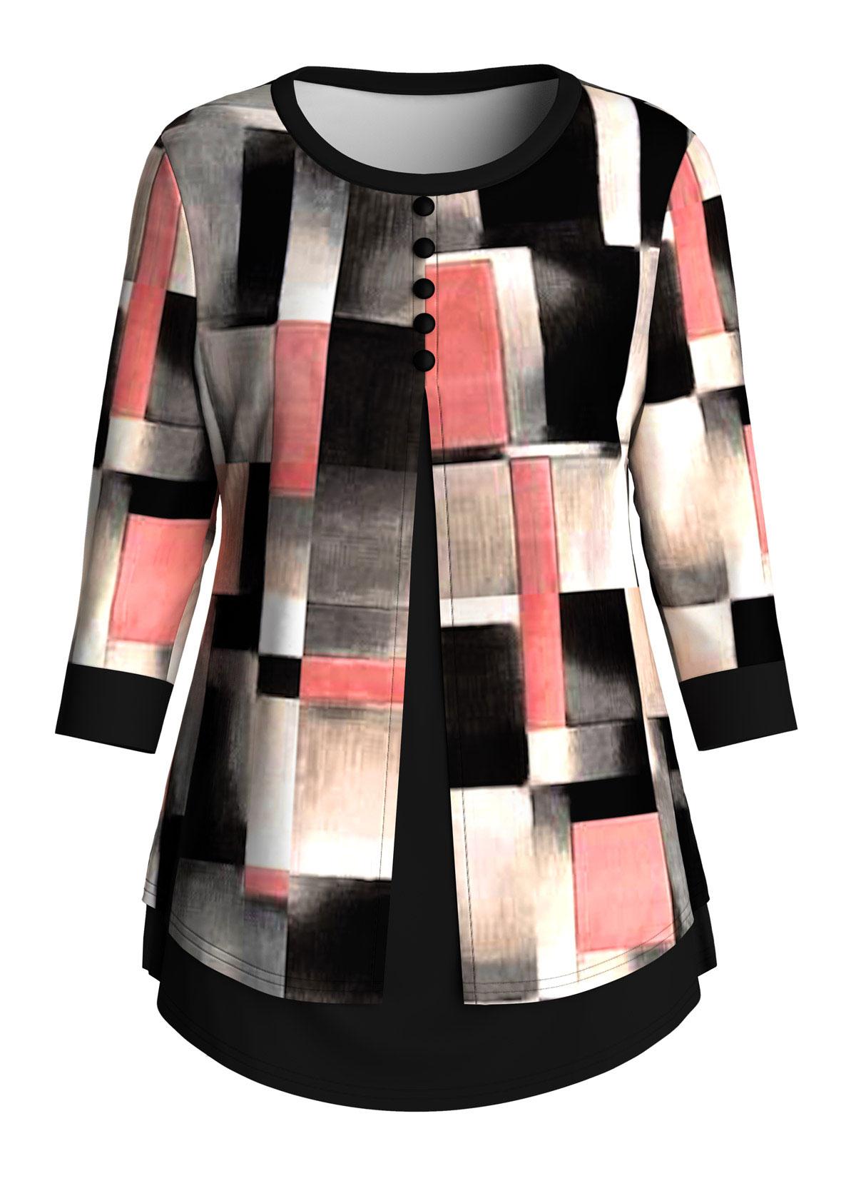 ROTITA Plus Size Button Geometric Print T Shirt