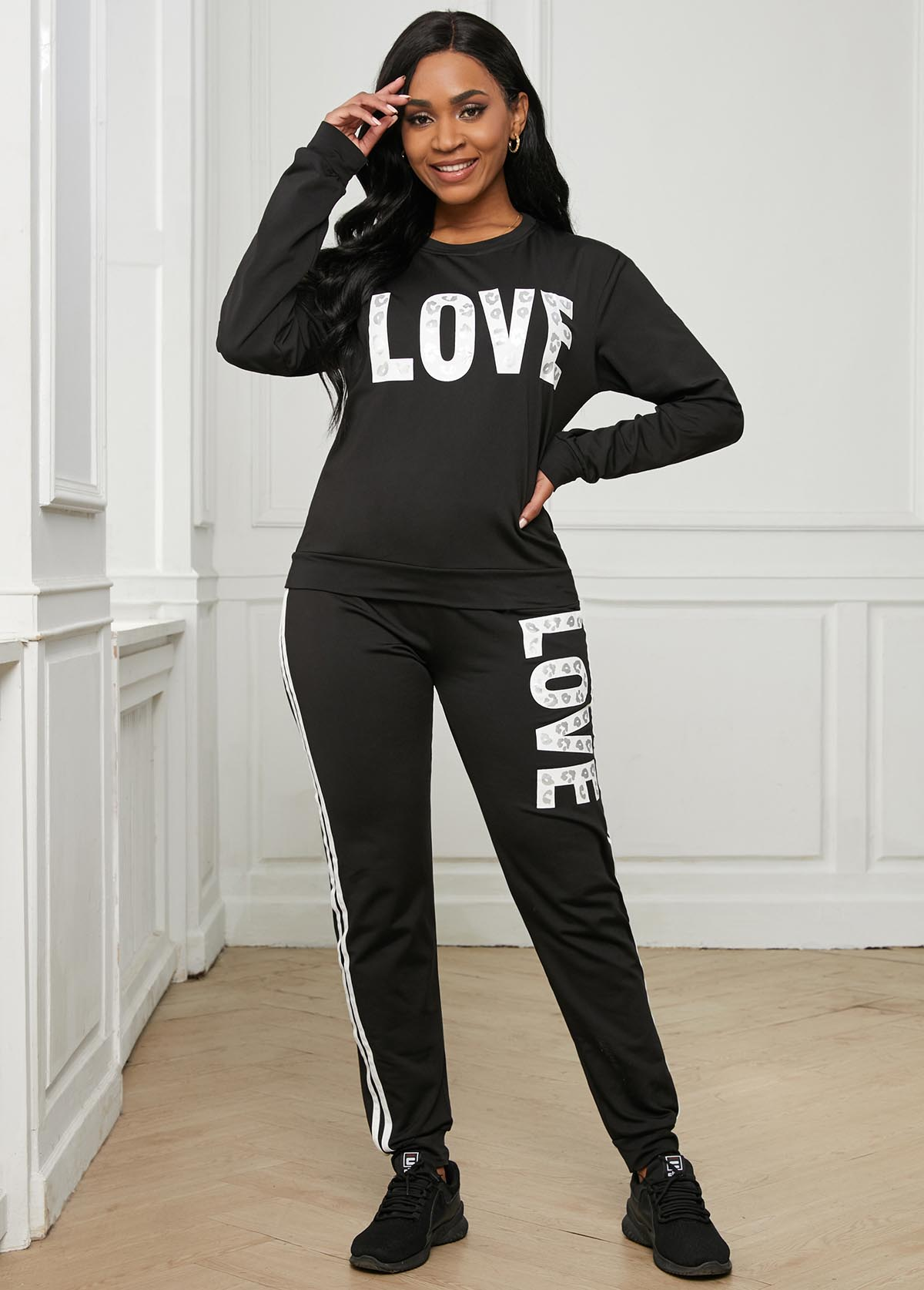 Round Neck Long Sleeve Letter Print Sweatsuit