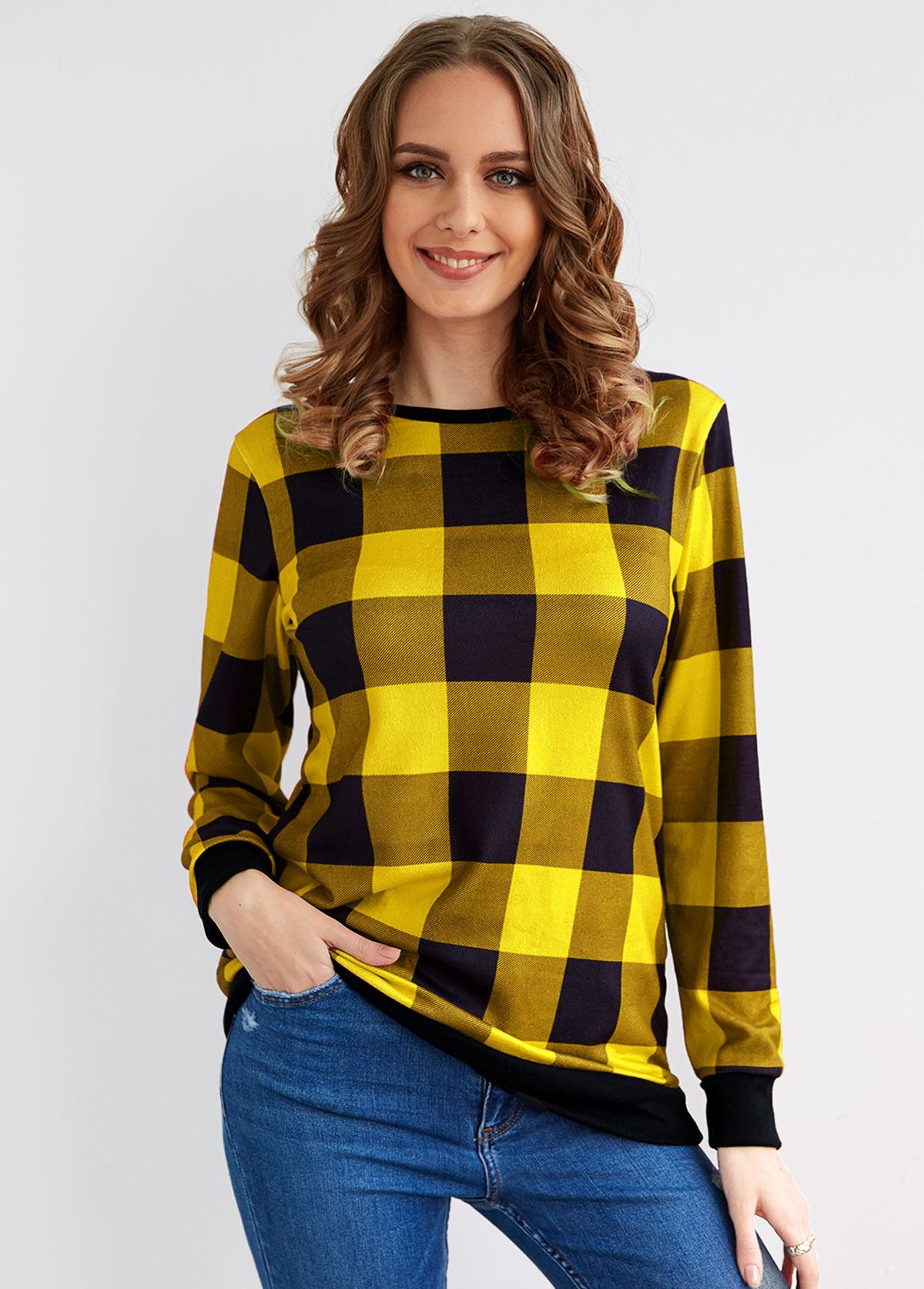 Round Neck Long Sleeve Plaid T Shirt