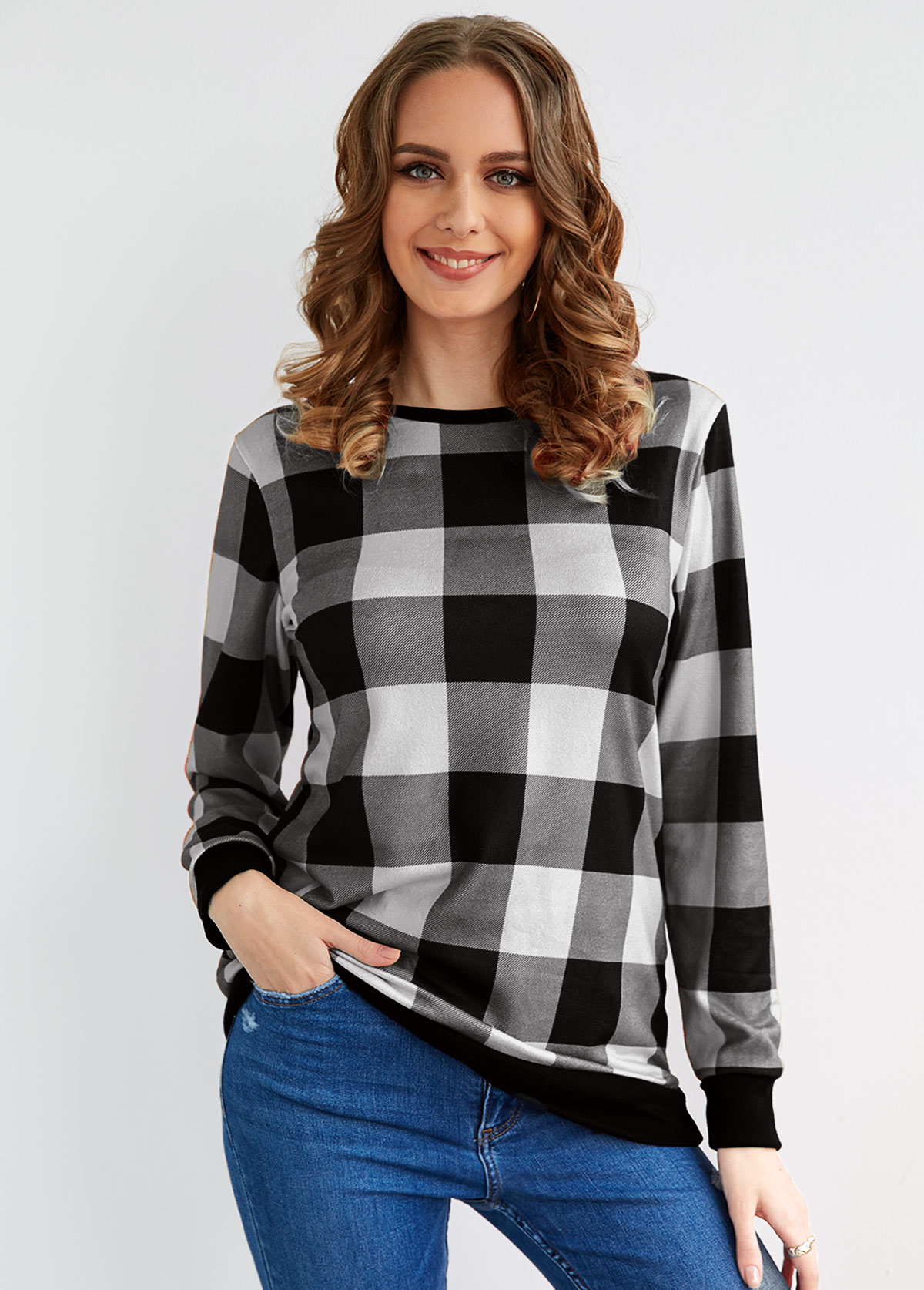 Round Neck Long Sleeve Plaid T Shirt