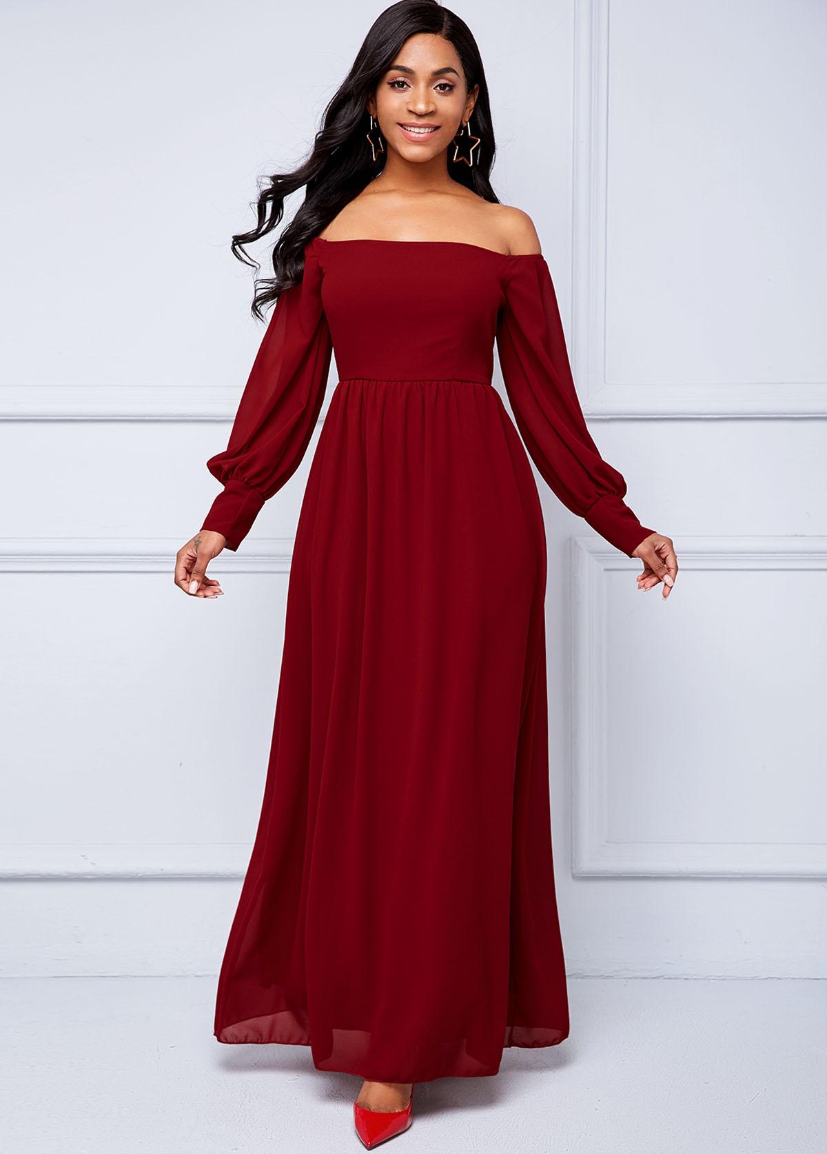 Lantern Sleeve Off Shoulder Maxi Dress