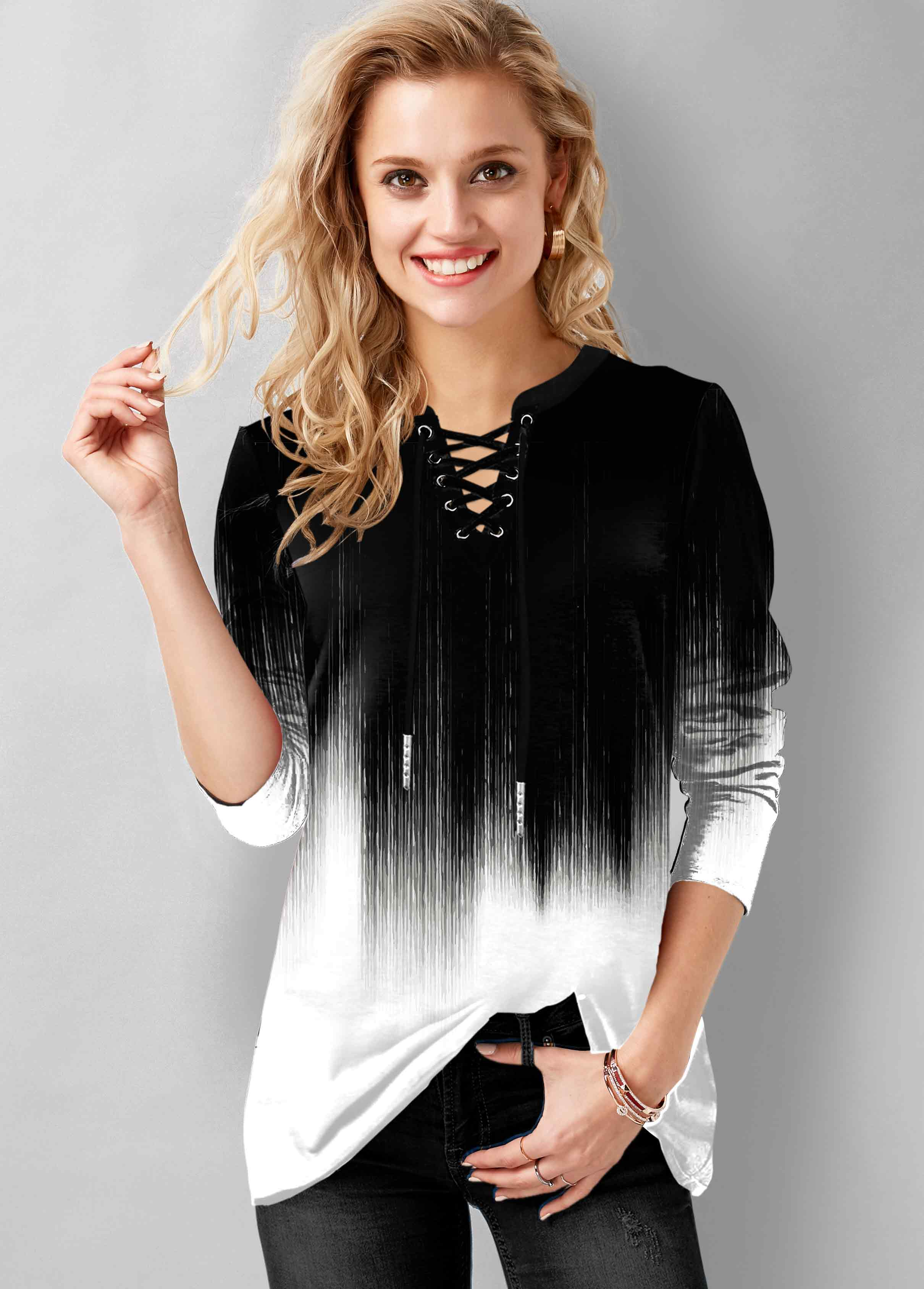 ROTITA Lace Up Long Sleeve Ombre T Shirt