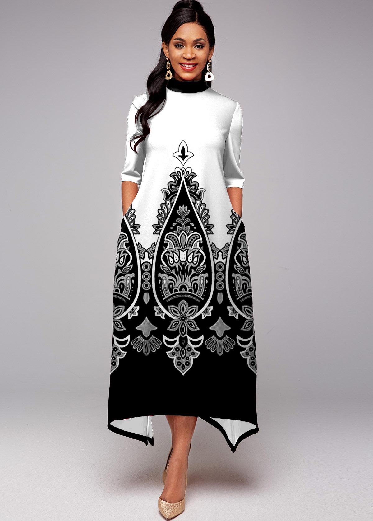 ROTITA Tribal Print Contrast Side Pocket Dress