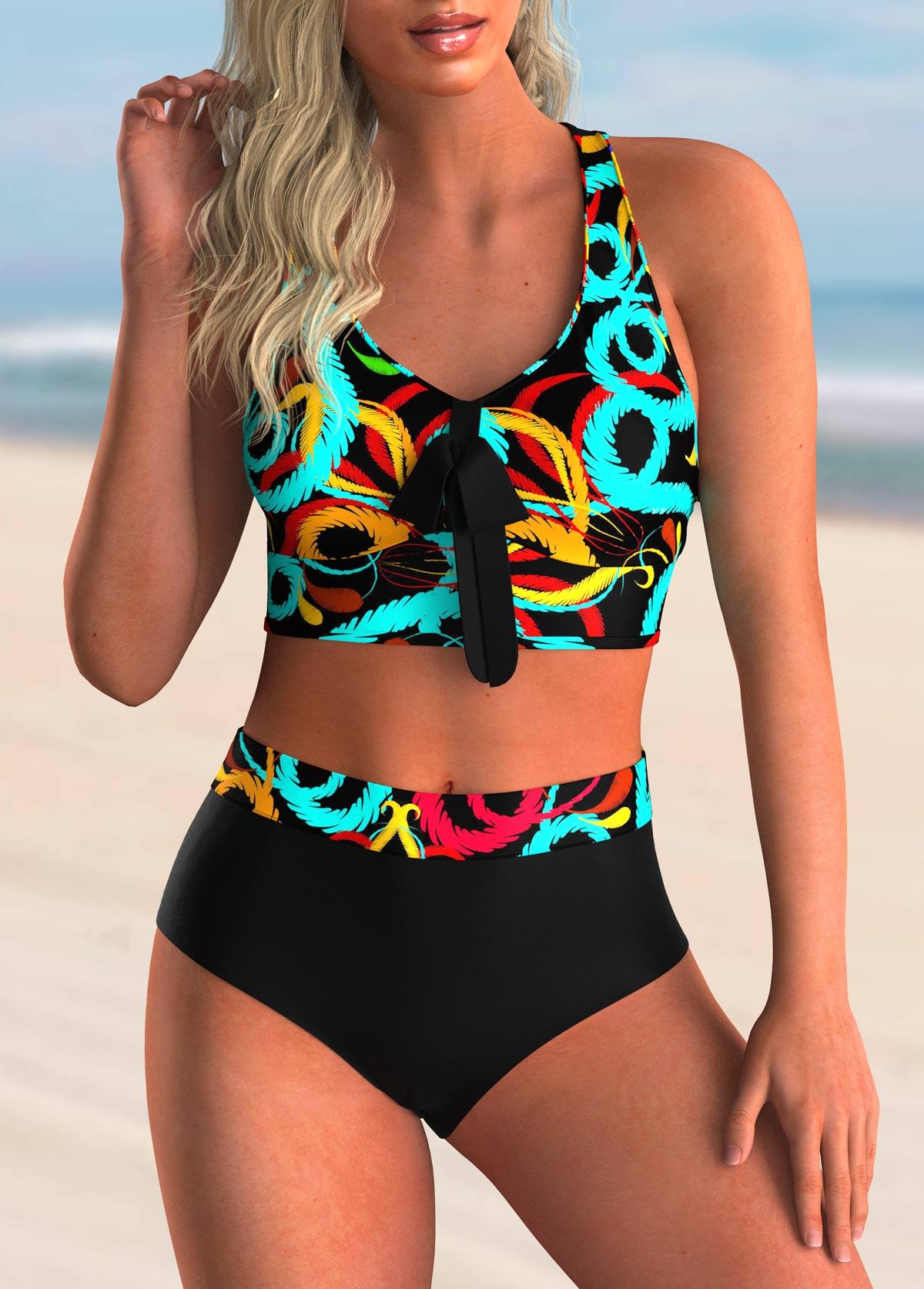 ROTITA Bowknot Cross Back Printed Bikini Set